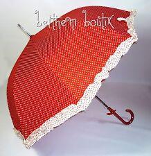 Goth : Parapluie Cloche & Canne ROUGE à Pois Blanc Noeud Manga Lolita Gothique