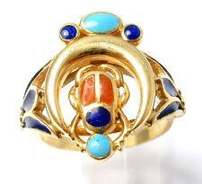 Vintage Estate $5000 18k Yellow Gold Enamel Scarab Ring sz 6