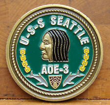 """USS Seattle (AOE-3) Oiler Challenge Coin """"Feeding the Fight Since 1969"""""""