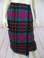 Carlisle Skirt 10 Wool Fringed Faux Wrap Turquoise Magenta Black Yellow Plaid