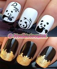 NAIL ART SET #176 ANIMAL PANDA BEAR WATER TRANSFERS/DECAL/STICKERS & GOLD LEAF