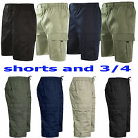 NEW MENS ELASTICATED WAIST SUMMER COTTON CARGO COMBAT 3/4 CASUAL SHORTS PANTS