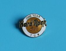 rare hard rock cafe broach type pin badge staff white & gold logo one year TCB