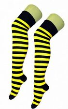 Over The Knee Yellow And Black Stripy Stripey Striped Socks Sox Fancy Dress Bee