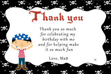 30 Pirate Thank You Cards Boys Birthday Party Items Personalized For You