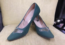 40s Forest Green Suede Short Heels w/ Reptile Inserts by Risque