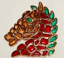 Vintage Marvella Faux Poured Glass Horse Head Brooch Red Green Amber Signed