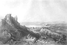 Israel, Sea of GALILEE LAKE TIBERIAS FORTRESS SAFED ~ 1850 Art Print Engraving