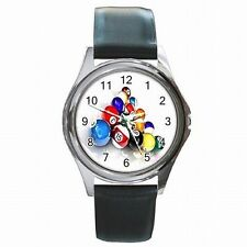 Pool Balls Triangle Rack Billiards Player Leather Watch New!