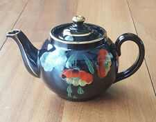 Vintage ALB Alcock Lindley Bloone Teapot Brown Betty England Flower Painted