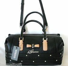NEW-GUESS KADE BLACK LEATHERETTE+BEIGE BOW+SILVER STUD CROSS BODY,HAND BAG,PURSE