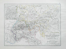 Mappa ITALIA SVIZZERA Germania illustrare le campagne di 1796 Johnston 1866