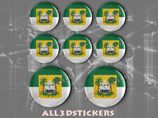 8 x 3D ROUND Stickers Resin Domed Flag Rio Grande do Norte - Adhesive Decal