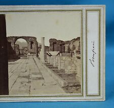 1860s Italy Stereoview Photo Forum Pompeii Early Manuscript Title