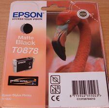 GENUINE EPSON T0878 TO878 Matte Black cartridge ORIGINAL FLAMINGO R1900 OEM INK