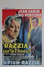 """""""RAZZIA SUR LA CHNOUF"""" Affichette belge entoilée (Jean GABIN, Lino VENTURA)"""