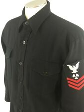 US Navy Petty Officer 1st Class Machinist Mate Shirt 16.5 35 Black Dress Uniform