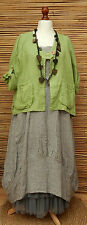 LAGENLOOK LINEN AMAZING BEAUTIFUL 2 POCKETS JACKET*PEA GREEN*L-XL BUST  46-48""