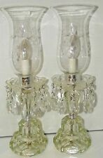 Pair Table Lamp BOUDOIR Art Drippy Prism Antique Crystal Glass Vtg Mid Century
