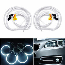 4x CCFL Halo Rings Angel Eyes Light Headlight 6000K Fr BMW E36 E38 E39 E46 131mm