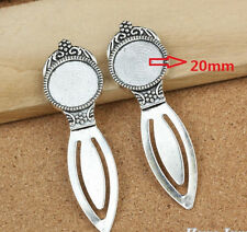 New 20MM 5PCS Antique Silver Bookmark Round Pendant Cabochon Setting Blank Trays