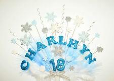 Cualquier nombre y edad frozen, copo de nieve y plumas adorno tarta cumpleaños