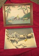 INTERESTING VINTAGE JAPANESE PYROGRAPHY PR ORIENTAL PICTURES PAPER LABELS