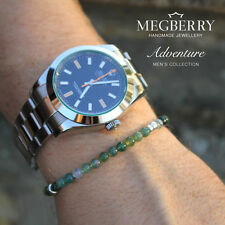 MEGBERRY Mens Green Moss Agate Gemstone 925 Sterling Silver Bead Bracelet UK