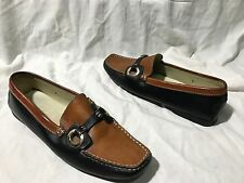 WOMENS sz 7 TODS Brown Black Leather Loafer Moccasins Shoes Made taly rare vtg