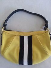 AUTHENTIC BALLY SHOULDER BAG SUEDE YELLOW BLACK STRIPE ONE ZIPPED DUST BAG CARD