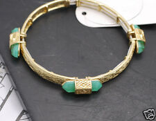 Urban Trend Boho Shimmering Green Jade Hexagon Bullet Rock Gold Stretch Bracelet