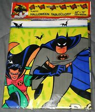 """Rare New 1997 DC Comics Batman and Robin Plastic Halloween Tablecloth 52"""" X 72"""""""
