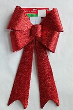 "NEW CHRISTMAS 28"" LED LIGHTED DOOR WINDOW CORDLESS RIBBON BOW RED TINSEL"