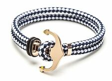 Vice Bracelet Blue and White Double Strand / Rose Gold Anchor Medium 7.5 inch
