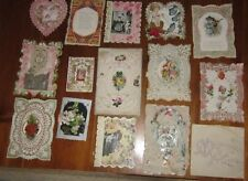 LOT of 14 ANTIQUE DIE CUT VICTORIAN VALENTINE CARDS EMBOSSED SCRAPS GERMANY 1800