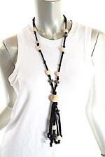 """PASHMERE Black Cotton/Silk Cord Necklace Crystal/Hematite/Wood Beads - NWT - 14"""""""