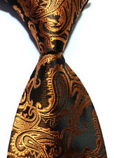 New Classic Copper Gold Paisley JACQUARD WOVEN Silk Men's Tie Necktie