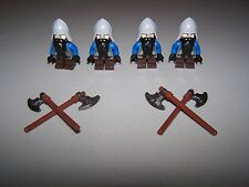LEGO® CUSTOM minifigure DWARF CASTLE TORSO x4 flesh head beard axe hobbit lot