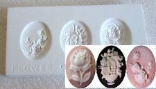 Ceramic Mold  - Flower Cameos  2- Polymer Clay, Ceramic or Porcelain Slip