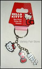 Hello Kitty Metal Keychain with Red Bow, Hello Kitty Script and Cute Kitty Face