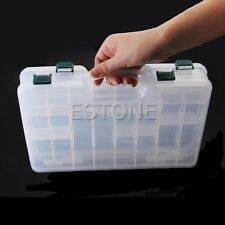 Double Sided Fishing Tackle Box Portable Transparent Plastic Fishing Lure Box