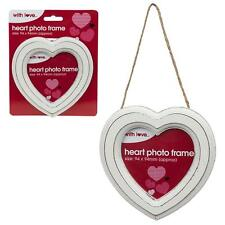 White Heart 13.5cm Photo Frame - Hanging Decoration Weddings, Valentines Day