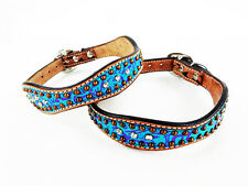 "14"" TURQUOISE FLORAL WESTERN STYLE LEATHER BLING CRYSTALS CANINE DOG COLLAR"
