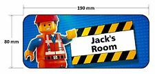 Lego Movie Emmet Personalised Childrens Bedroom Door Plaque Sign Boys Girls