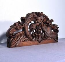 """*25"""" French Pediment/Crest in Solid Hand Carved Wood with Love Birds"""