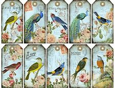 Peacock Birds & Roses Gift Tags - Also great for Scrapbooking / Card Making etc