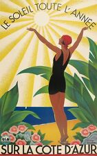 A3 SIZE - SURLA COTE D'AZUR - Vintage Retro Travel & Railways Poster Print #3