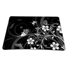 Black With Flowers Anti-slip Mouse Pad Mat For Optical Wireless Laser Mouse