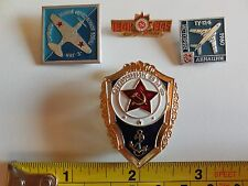 Russian Soviet USSR Military Pins (4each), Navy Excellence, Aircraft 1960, WW II