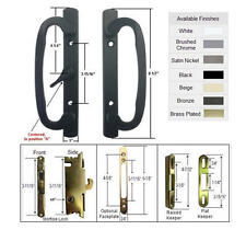 Patio Door Handle Kit with Mortise Lock and Keepers, A-Position, Black,Non-Keyed